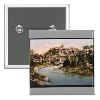 Castle and river Lourdes Pyrenees France vintag Button