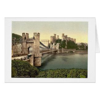 Castle and suspension bridge, Conway (i.e. Conwy), Card