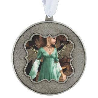 Castle Angel Scalloped Ornament