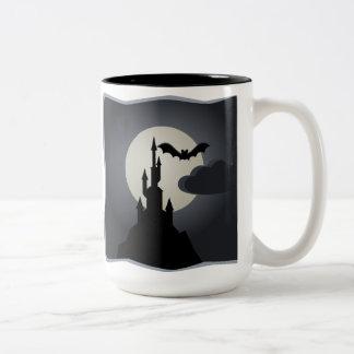 Castle, Bat, and Full Moon Halloween Mug