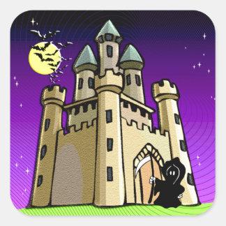 Castle Bats and Grim Reaper at Castle Door Square Sticker