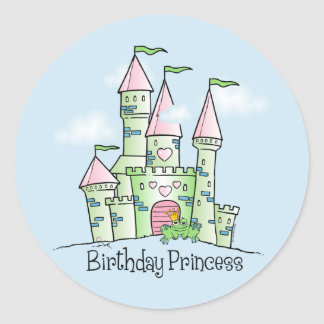 Castle Birthday Princess Classic Round Sticker