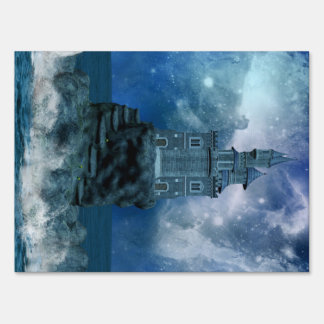 Castle by Stormy Sea Lawn Sign