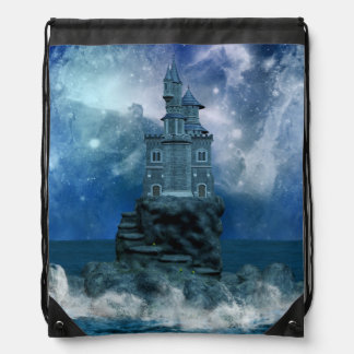 Castle by the Stormy Sea Drawstring Backpack