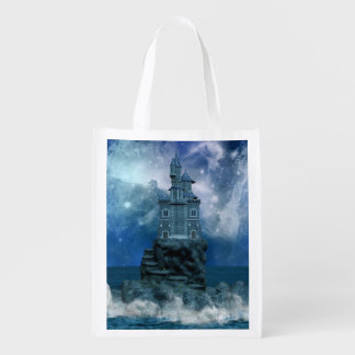 Castle by the Stormy Sea Grocery Bag