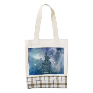 Castle by the Stormy Sea Zazzle HEART Tote Bag