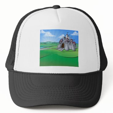Halloween Themed Castle Cartoon Scene Background Trucker Hat