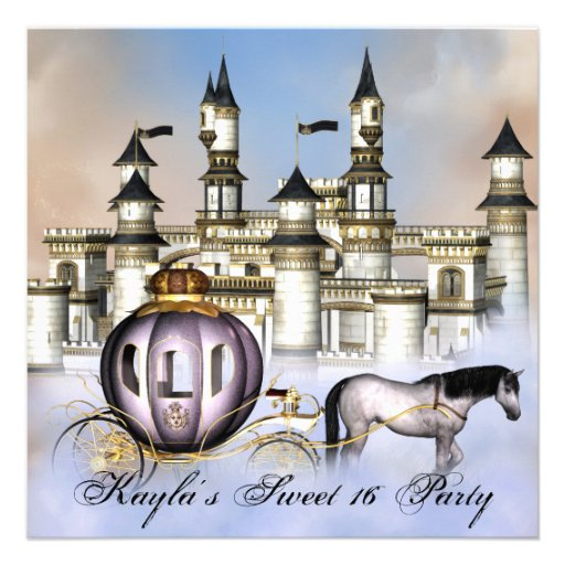Castle Clouds Princess Fairytale Sweet 16 Party Custom Invitation