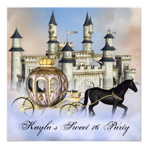 Castle Clouds Princess Fairytale Sweet 16 Party Custom Announcements