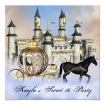 "Castle Clouds Princess Fairytale Sweet 16 Party 5.25"" Square Invitation Card"