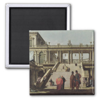 Castle Courtyard, 1762 2 Inch Square Magnet