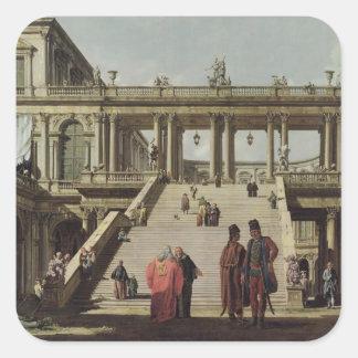 Castle Courtyard, 1762 Square Sticker