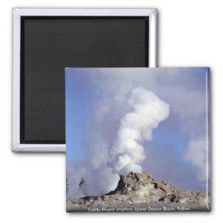 Castle Geyser eruption, Upper Geyser Basin, Yellow Refrigerator Magnets