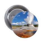Castle Geyser Eruption Yellowstone National Park. 2 Inch Round Button
