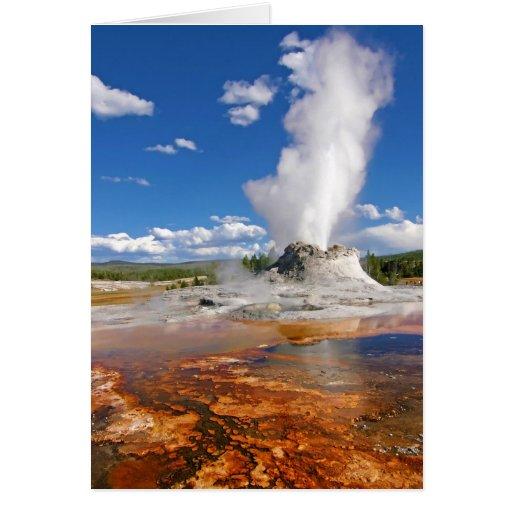 Castle Geyser Eruption Yellowstone National Park. Card