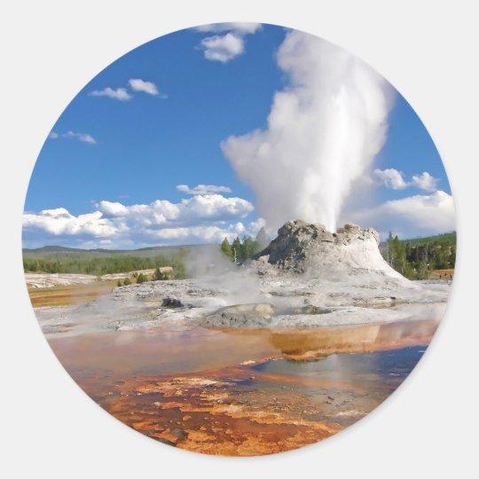 Castle Geyser Eruption Yellowstone National Park. Classic Round Sticker