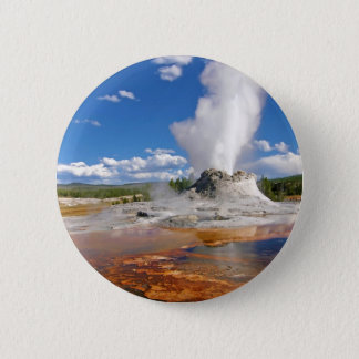 Castle Geyser Eruption Yellowstone National Park. Pinback Button