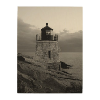 Castle Hill Lighthouse in Black and White Wood Print