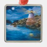 Castle Hill Lighthouse Square Metal Christmas Ornament