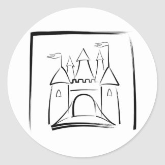 Castle Illustration with Drawbridge Classic Round Sticker