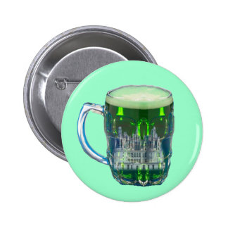 Castle in a glass of beer on a button