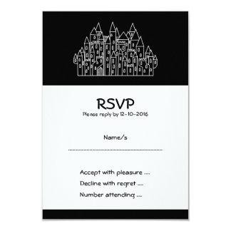 Castle in Black and White. 3.5x5 Paper Invitation Card