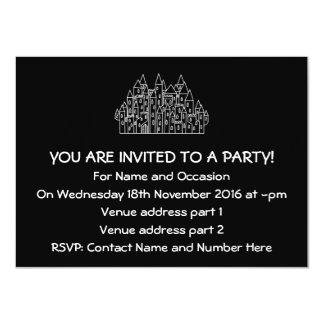 Castle in Black and White. 4.5x6.25 Paper Invitation Card