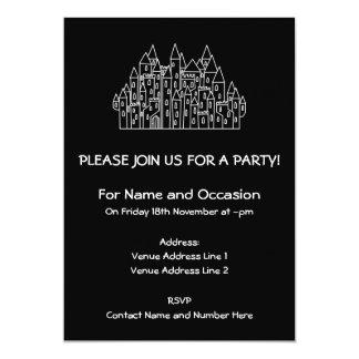 Castle in Black and White. 5x7 Paper Invitation Card