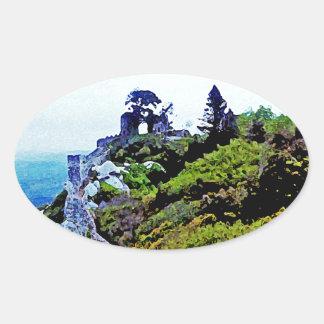 Castle in Sintra Portugal Oval Sticker