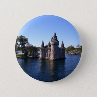 Castle in water pinback button