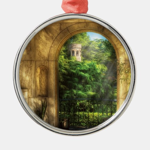 Castle - Just Beyond Round Metal Christmas Ornament