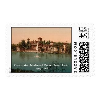 Castle & Mediaeval Market Town, Turin, Italy 1905 Postage Stamp