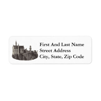 Castle Neuschwanstein Black and White Photograph Return Address Label