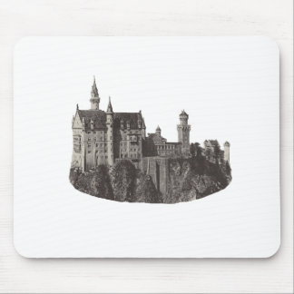 Castle Neuschwanstein Black and White Photograph Mouse Pad