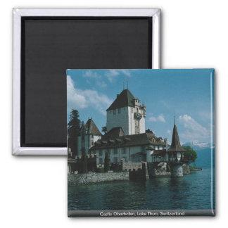 Castle Oberhofen, Lake Thun, Switzerland 2 Inch Square Magnet
