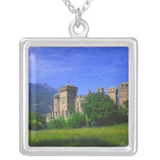Castle of Fenis near Italian Alps in Fenis, Square Pendant Necklace