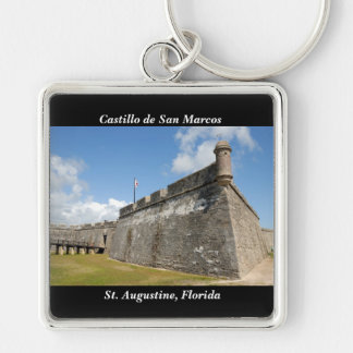 Castle of San Marcos St. Augustine, Fl. Silver-Colored Square Keychain
