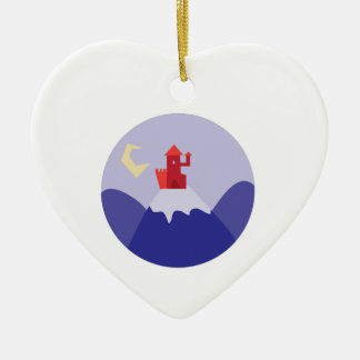 Castle On Hill Double-Sided Heart Ceramic Christmas Ornament