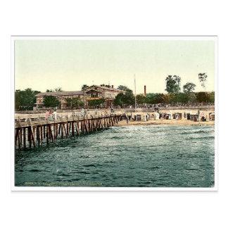 Castle on the beach and bridge, Colberg, Pommerain Postcard