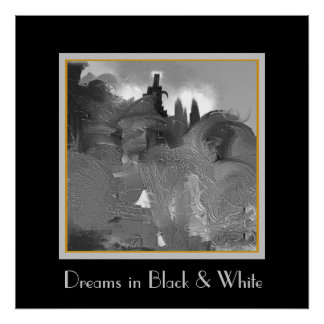 Castle on the Hill in Black and White Poster