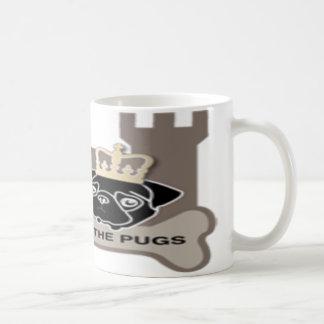 castle or the pugs sulk with logo around coffee mug
