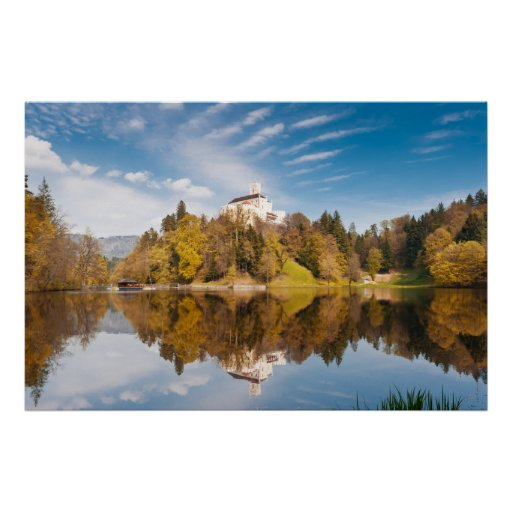 Castle reflected in lake. Trakoshchan photo print. Poster
