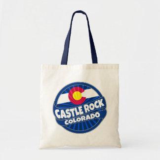 Castle Rock Colorado flag burst tote bag