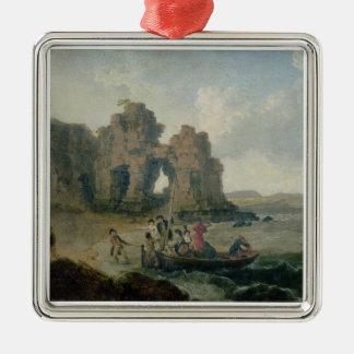 Castle Rock (Flatholm Island), Bristol Channel, 17 Square Metal Christmas Ornament