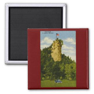 Castle Rock, St Ignace, Michigan 2 Inch Square Magnet