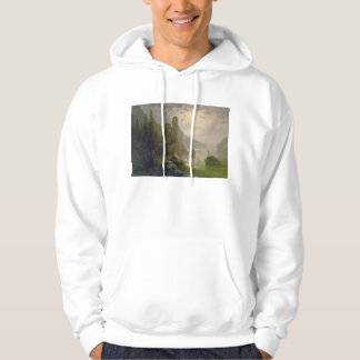 Castle Ruins by a Lake by Albert Rieger Hoodie