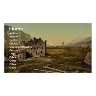 Castle ruins Granges Valais Switzerland vintage Business Card