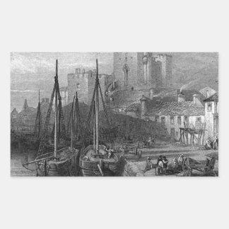 Castle Rushen, Castleton, Isle of Man, engraving b Rectangular Sticker
