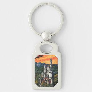 Castle Schloss Neuschwanstein Silver-Colored Rectangular Metal Keychain