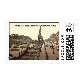 Castle,& Scott Monument,Scotland 1905 Postage